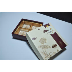 Simple White Paper Gift Box for Mooncake Package with Good Printing PVC Tray Who
