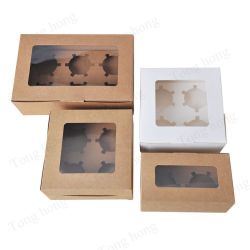 Wholesale Custom 6 Pack Cup Cake Paper Packaging Muffin Bakery Swiss Roll Desser