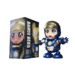 会跳舞唱歌的钢铁侠机器人抖音同款玩具灯光音乐儿童电动男孩礼物 女版蓝色钢铁侠 彩盒包装 【电池版】3节普通电池